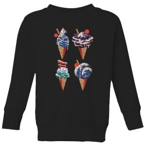 Ilustrata Japanese Ice Creams Kids' Sweatshirt - Black