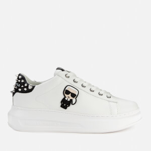Karl Lagerfeld Women's Kapri Karl Ikonic Lo Lace Leather Flatform Trainers - White/Stud Tab