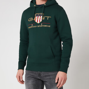 Gant Men's Archive Shield Hoodie - Tartan Green