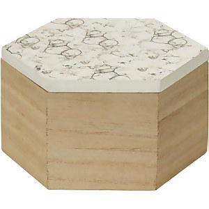 Mimo Hexagon Trinket Box - White Faux Marble