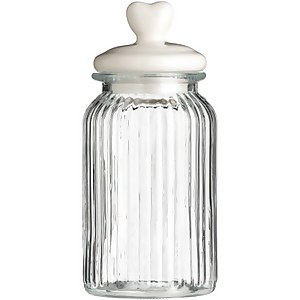 Ribbed Glass Heart Storage Jar - 1300ml