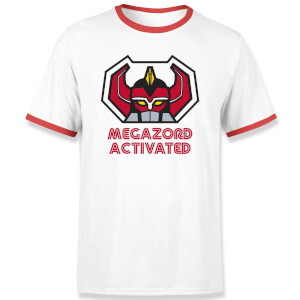 Power Rangers Megazord Activated Unisex T-Shirt - White / Red Ringer
