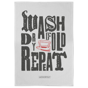 Monopoly Wash Dry Fold Repeat Tea Towel