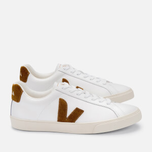 Veja Women's Esplar Logo Leather Trainers - Extra White/Camel