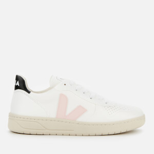 Veja Women's V-10 Leather Trainers - White/Petale/Black