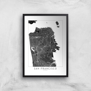 San Francisco Dark City Map Giclee Art Print