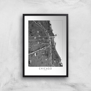 Chicago Dark City Map Giclee Art Print