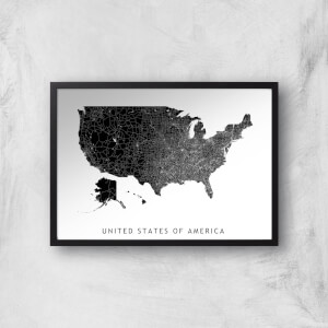 United States Of America Dark Map Giclee Art Print