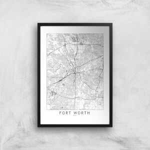 Fort Worth Light City Map Giclee Art Print