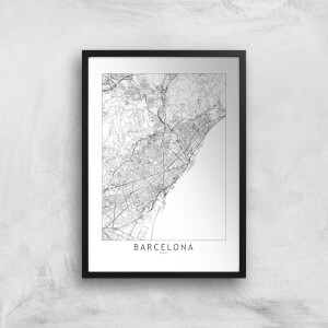 Barcelona Light City Map Giclee Art Print