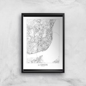 Lisbon Light City Map Giclee Art Print