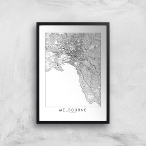 Melbourne Light City Map Giclee Art Print