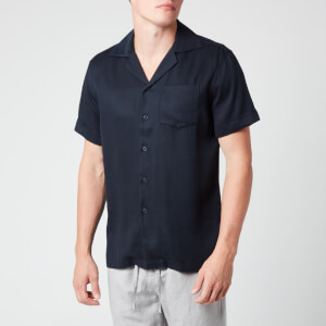 Frescobol Carioca Men's Camp Collar Tencel Shirt - Petrol Blue
