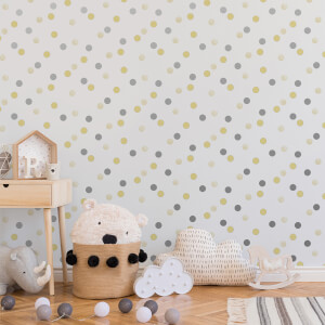 Superfresco Easy Yellow/Silver Dotty Polka Wallpaper