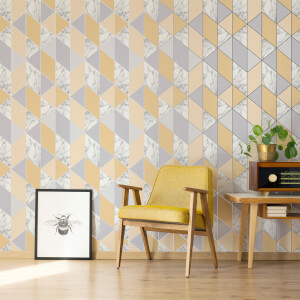 Sublime Yellow Marble Geometric Wallpaper