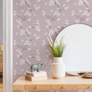 Fresco Pink Apple Blossom Floral Wallpaper