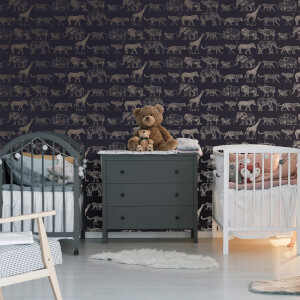 Boutique Midnight Navy Animal Safari Wallpaper