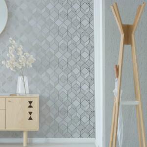 Superfresco Vittorio Grey/Silver Geometric Wallpaper