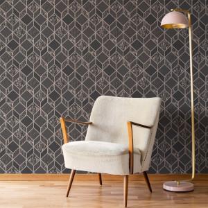 Superfresco Vittorio Charcoal/Rose Gold Geometric Wallpaper