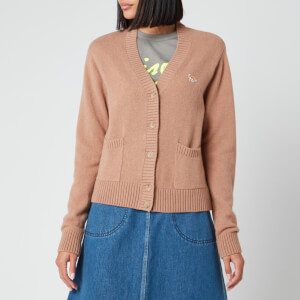 Maison Kitsuné Women's Lambswool Boxy Cardigan Profile Fox Patch - Peach Beige