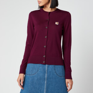 Maison Kitsuné Women's Merinos R-Neck Cardigan Fox Head Patch - Plum