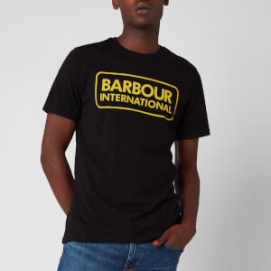 Barbour International Men's Essential Large Logo T-Shirt - Black/Yellow