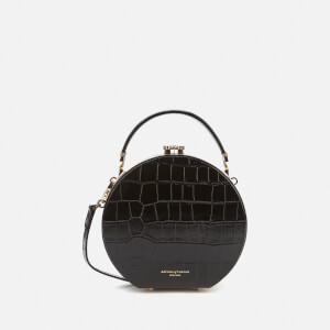 Aspinal of London Women's Hat Box Deep Shine Small Croc Bag - Black