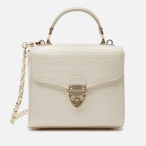 Aspinal of London Women's Mayfair Micro Deep Shine Small Croc Bag - Ivory