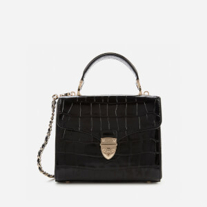Aspinal of London Women's Mayfair Midi Deep Shine Croc Bag - Black