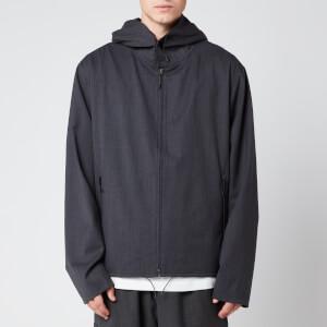 Y-3 Men's Classic Wool Stretch Hooded Windbreaker - Charcoal