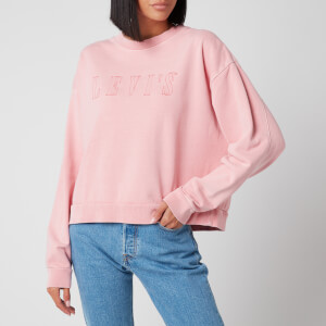 Levi's Women's Graphic Diana Crew Sweatshirt - Serif Outline Garment Dye Blush