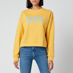 Levi's Women's Graphic Diana Crew Sweatshirt - Serif Logo Gold Cost