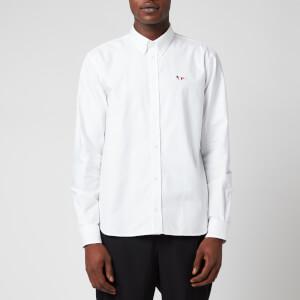 Maison Kitsuné Men's Tricolor Fox Patch Classic Shirt - White