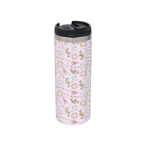 Friends Pattern Warm Tone Stainless Steel Thermo Travel Mug - Metallic Finish