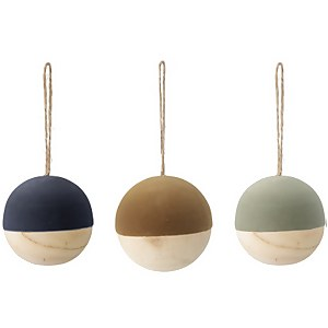 Bloomingville Wood and Velvet Christmas Baubles - Set of 3 - Navy