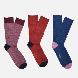 Ted Baker Men's Socksix Assorted Socks 3 Pack - Multi
