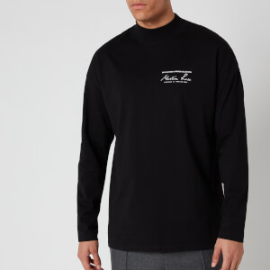 Martine Rose Men's Jersey Funnel Neck Long Sleeve T-Shirt - Black