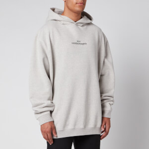 Maison Margiela Men's Mirrored Logo Hoodie - Grey Melange