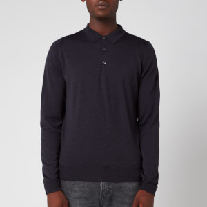 John Smedley Men's Belper 30 Gauge Extra Fine Merino Wool Long Sleeve Polo-Shirt - Hepburn Smoke