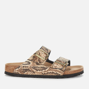 Birkenstock Women's Arizona Leather Double Strap Sandals - Snake Beige