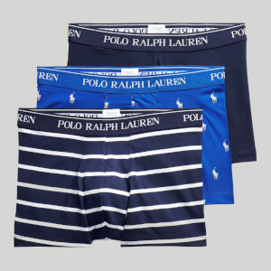 Polo Ralph Lauren Men's Stretch Cotton 3 Pack Trunks - Sapphire/Navy Stripe/Navy