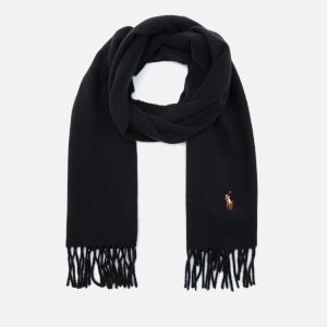 Polo Ralph Lauren Men's Fringed Virgin Wool Scarf - Black