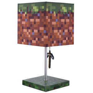 Minecraft 3D Puller Green Creeper And Grass Block Desk Lamp 14 Inch