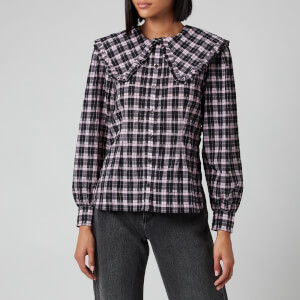 Ganni Women's Seersucker Check Shirt - Sweet Lilac