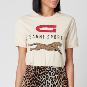 Ganni Women's Logo Sport T-Shirt - Brazilian Sand