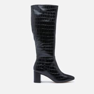 Dune Women's Saffia Croc Printed Leather Knee High Boots - Black