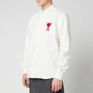 AMI Men's Button Down Big De Coeur Oxford Shirt - White