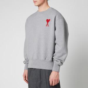 AMI Men's Embroidered Chain Stitch De Coeur Sweatshirt - Heather Grey