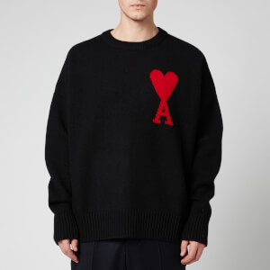 AMI Men's Oversize Felted Wool Gauge 7 De Coeur Jumper - Black