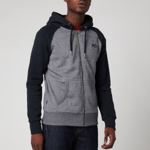 Superdry Men's Orange Label Classic Raglan Zip Hoodie - Rich Navy Mega Grit